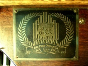 Page Organ Company name plate, Zion Lutheran Church, Chattanooga, Ohio.