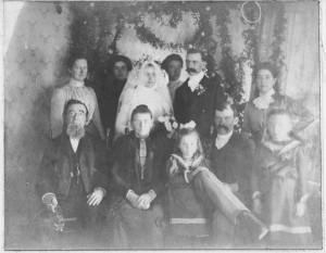 "George & Barbara (Schinnerer) Schumm wedding photo, California, 1901. ""Aunt Barbara's parents, brothers & sister, Long Beach, California."""