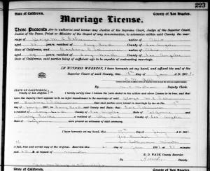 Marriage license & return, George Schumm & Barbara Schinnerer, Long Beach, California, 1901.