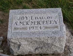 Joy I. Eley, Zion Lutheran Cemetery, Chattanooga, Mercer County, Ohio. (2011 photo by Karen)