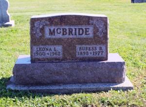 Buress & Leona McBride, East Bethel Cemetery, Mercer County, Ohio. (2016 photo by Karen)