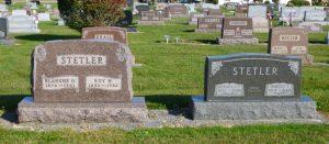 Harold & Berneice Stetler buried next to his parents, Roy & Blanch Stetler. (2016 photo by Karen)