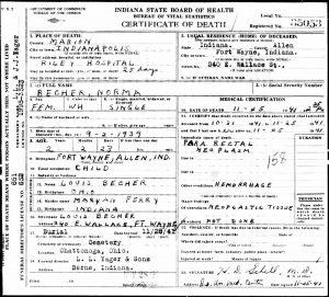 Darleene Becher death certificate. [3]