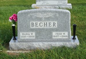 Fred W. & Maria W. Becher, Zion Lutheran Cemetery, Chattanooga, Mercer County, Ohio. (2011 photo by Karen)