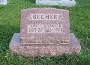 George & Mary Becher, Zion Lutheran Cemetery, Chattanooga, Mercer County, Ohio. (2011 photo by Karen)