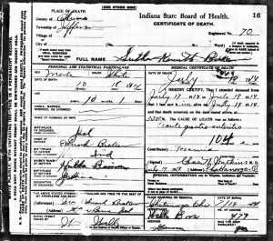 Luther Kenneth Becher death certificate, 1914.
