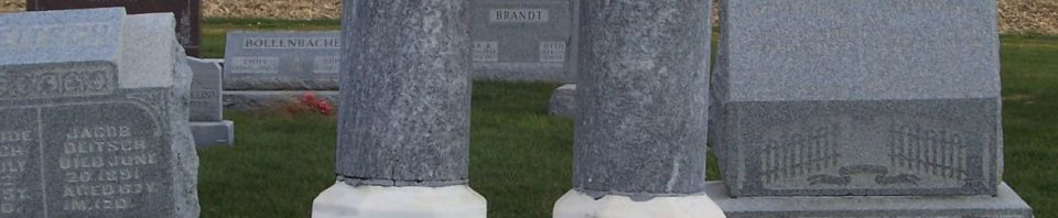 Johann and Barbara Wiedmann, Zion Lutheran Cemetery, Chattanooga, Mercer County, Ohio. (2011 photo by Karen)