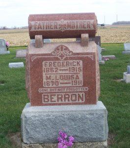 Frederick & M. Louisa Berron, Zion Lutheran Cemetery, Chattanooga, Ohio. (2011 photo by Karen)