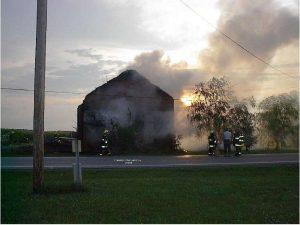 Duck Creek School fire, 2005. Photo courtesy of Janet Myers.