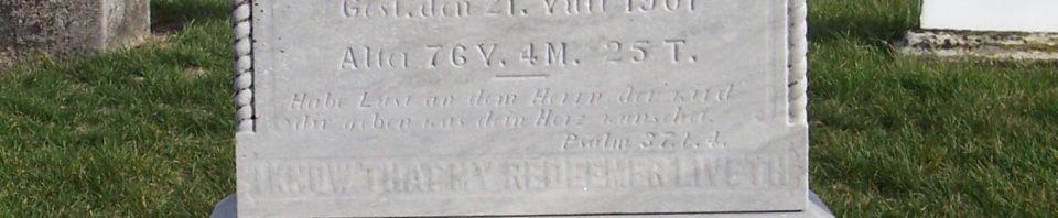 Friedrich Herzog, Zion Lutheran Cemetery, Mercer County, Ohio. (2011 photo by Karen)