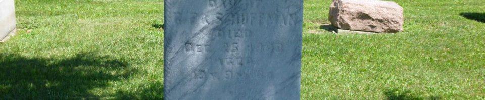 Emma V. Huffman, Kessler/Liberty Cemetery, Mercer County, Ohio. (2017 photo by Karen)