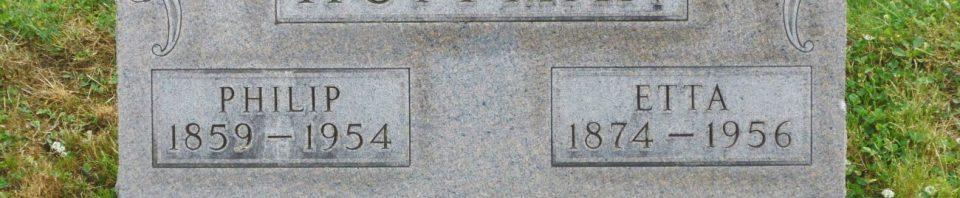 Philip & Etta (Leistner) Huffman, Kessler Cemetery, Mercer County, Ohio. (2017 photo by Karen)