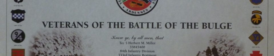 Certificate, Battle of the Bulge Association.