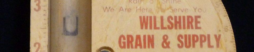 Rain gauge from Willshire Grain & Supply.