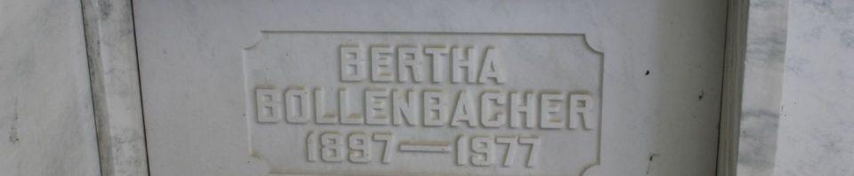 Bertha (Huffman) Bollenbacher, Chattanooga Mausoleum, Mercer County, Ohio. (2017 photo by Karen)