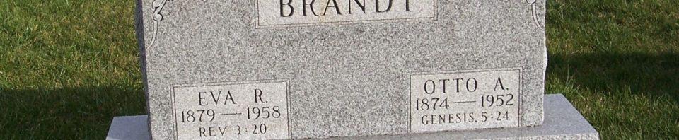 Otto & Eva (Wise) Brandt, Zion Lutheran Cemetery, Chattanooga, Mercer County, Ohio. (2011 photo by Karen)