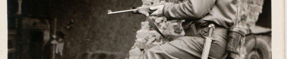 84th Division Soldier with carbine, Belgium.