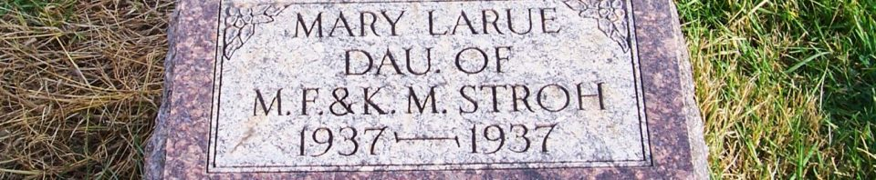 Mary LaRue Stroh, Zion Lutheran Cemetery, Mercer County, Ohio. (2011 photo by Karen)
