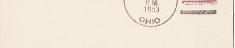 Last Schumm, Ohio, postmark, 31 Jan 1953.