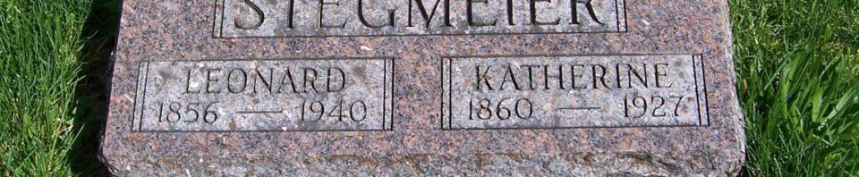 Leonard & Katharine Stegmeier, Zion Lutheran Cemetery, Schumm, Van Wert County, Ohio. (2012 photo by Karen)