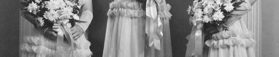 Bridesmaids in Esther (Schumm) Krueckeber's wedding, 1951. Amy (Schumm) Boenker, Florence (Schumm) Miller, Phyllis (Gunsett) Dietrich.