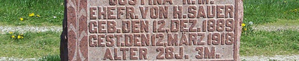 Justina R.M. (Pflueger) Sauer, Zion Lutheran Cemetery, Van Wert County, Ohio. (2012 photo by Karen)
