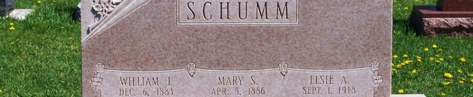 William J, Mary (Sauer), & Elsie Schumm, Zion Lutheran Cemetery, Van Wert County, Ohio. (2012 photo by Karen)