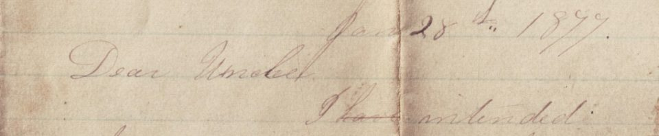 To Louis Breuninger, Willshire, Ohio, from Sarah Kitchen, Green Bay, Wisconsin, 1877.