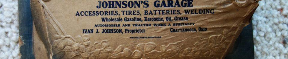 1934 Calendar, Johnson's Garage, Chatt, Ohio.