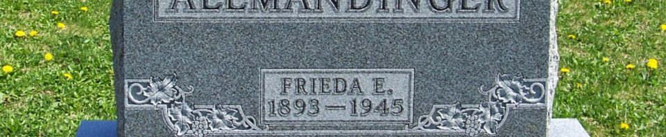 Frieda E. Allmandinger, Zion Lutheran Cemetery, Van Wert County, Ohio. (2012 photo by Karen)