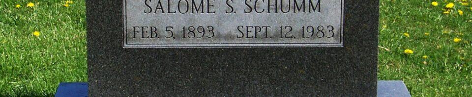 Salome S Schumm, Zion Lutheran Cemetery, Van Wert County, Ohio. (2012 photo by Karen)