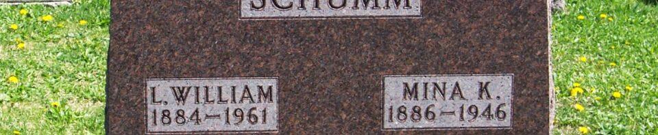 L. William & Mina K. (Gunsett) Schumm, Zion Lutheran Cemetery, Van Wert County, Ohio. (2012 photo by Karen)