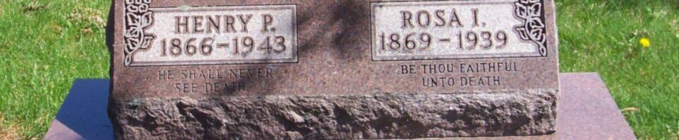 Henry P & Rosa I (Roehm) Reidenbach, Zion Lutheran Cemetery, Van Wert County, Ohio. (2012 photo by Karen)