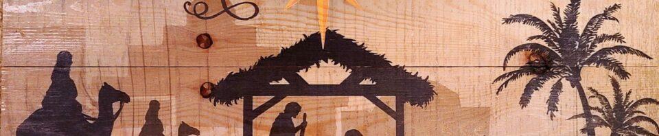 The Nativity, on wood.
