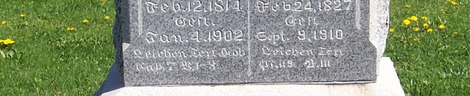 Andrew & Friedericke (Gutheil) Roehm, Zion Lutheran Cemetery, Van Wert County, Ohio. (2012 photo by Karen)