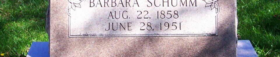 Barbara Schumm, Zion Lutheran Cemetery, Van Wert County, Ohio. (2012 photo by Karen)