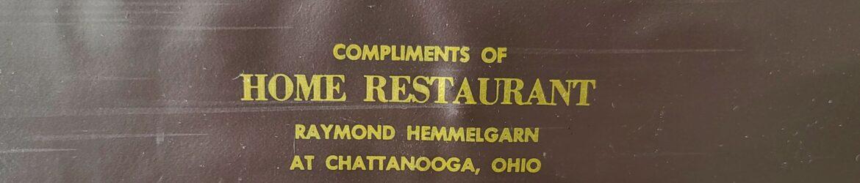 Document holder from Chatt Home Restaurant.